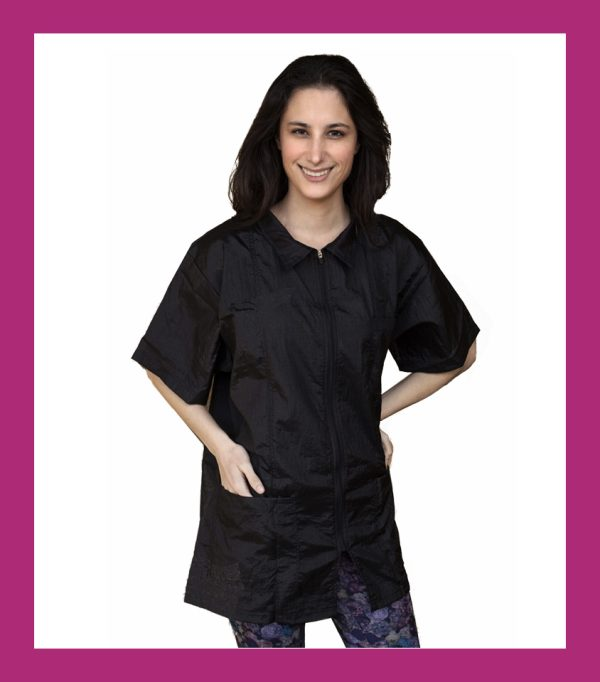 short sleeve black smock